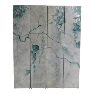 Hand Painted Botanical 4 Panel Folding Screen