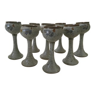 Vintage Mid-Century Stoneware Handmade Goblets - Set of 8