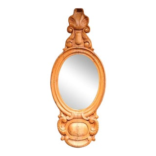 19th Century English Carved Light Pine Wall Mirror