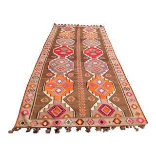 "Vintage Turkish Kilim Rug - 6'5"" X 11'6"""