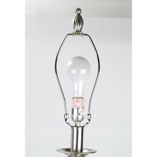 Stiffel Metal Table Lamp & Cotton Shade - Image 7 of 11