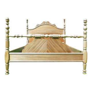 Vintage Solid Bleached Mahogany Full Double Poster Bed