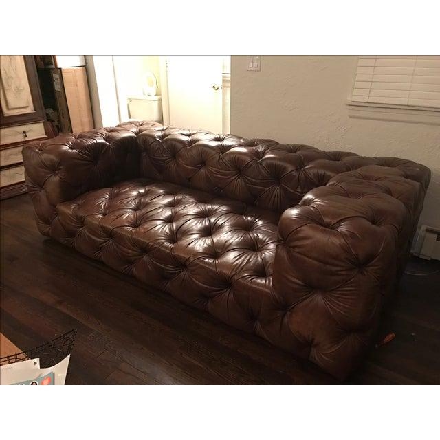 Restoration hardware soho tufted leather sofa chairish for Restoration hardware tufted sectional sofa