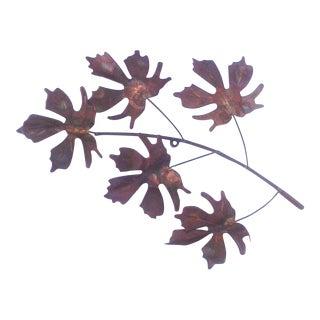 Vintage Mid-Century Modern Brass & Copper 5 Leaf Wall Sculpture