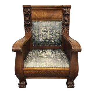 Antique Mahogany Lion's Head Empire Chair