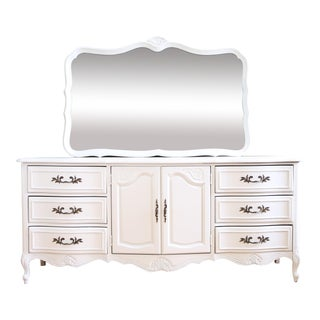 French Provincial Vintage 9 Drawer Dresser & Mirror