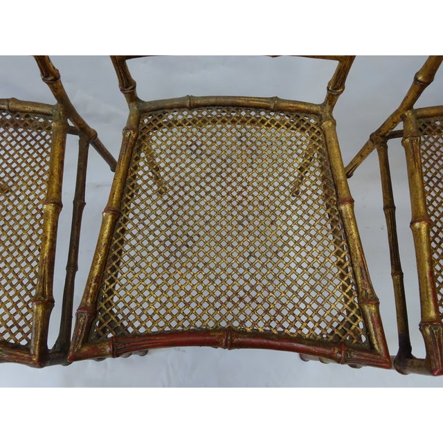 Italian Faux Bamboo Gold Dining Chairs - S/4 - Image 6 of 8