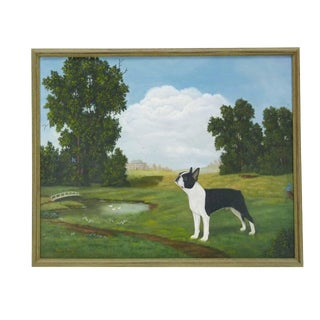Boston Terrier Countryside Oil Painting