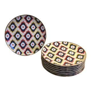 Multi-Colored Ikat Salad/Dessert Plates - Set of 8
