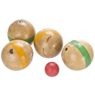 Vintage French Wood Boules With Carrier - Set of 5