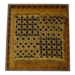 Framed Geometric African Raffia Textile