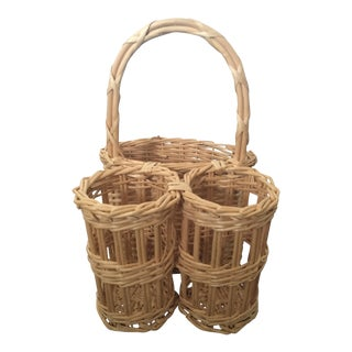 Vintage French Wicker Wine Champagne Picnic Basket