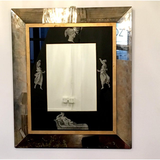 Manner of Fornasetti Black and Antiqued Mirror - Image 2 of 7