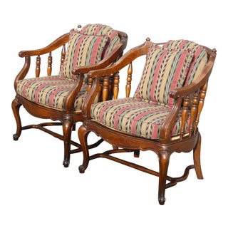 Vintage French Country Stripped Spindle Accent Chairs - A Pair