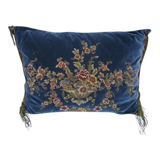 19th Century French Metallic & Chenille Velvet Pillow