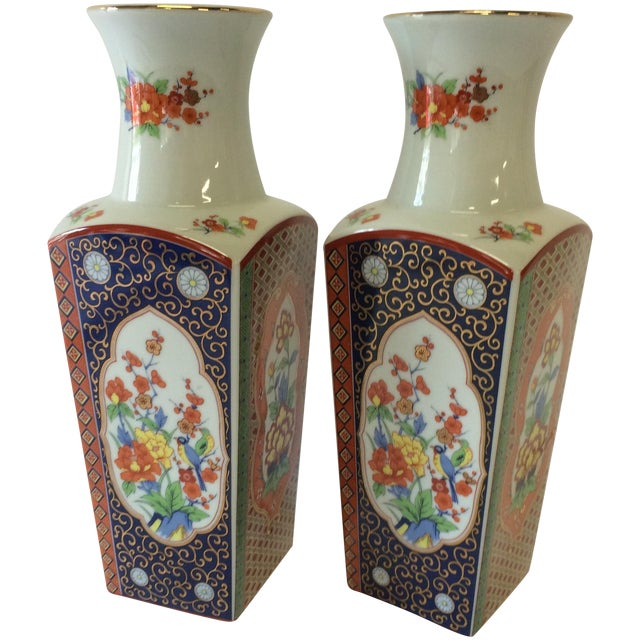 Chinoiserie Style Square Vases - A Pair - Image 1 of 10
