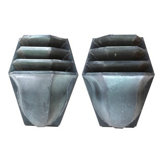 Arts & Crafts Patinated Brass Outdoor Sconces - A Pair