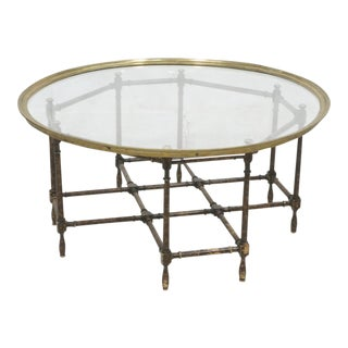 Baker Brass & Glass Tray Top Faux Wood Bamboo Coffee Table, Circa 1960