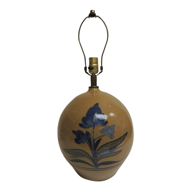 Image of Vintage Round Stoneware Table Lamp