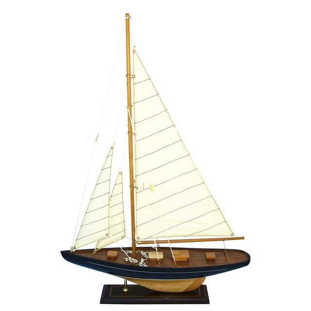 Handmade Wooden Sailboat Model - Image 1 of 4