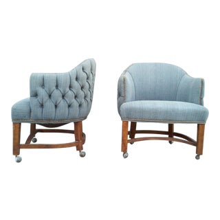 Blue Tufted Barrel Club Chairs - A Pair