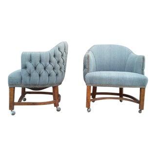 Blue Tufted Barrel Club Chairs - A Pair