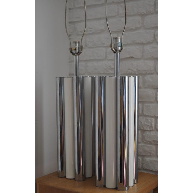 Image of Chrome & White Table Lamps - A Pair