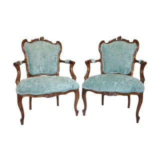 French Rococo Walnut Armchairs - A Pair
