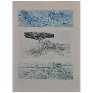 "Gabor Peterdi Pencil Signed Etching ""The Sea Shines"", Circa 1966"