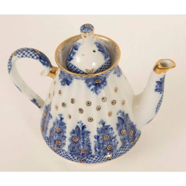 Lomonosov Cobalt Blue & Gold Porcelain Teapot - Image 5 of 11