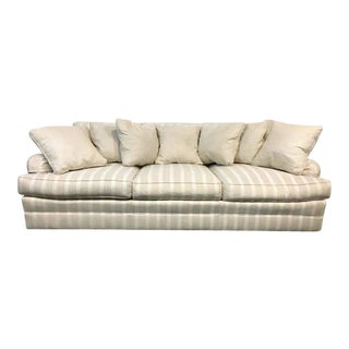 Frederick Edward White Satin Striped Upholstered Sofa