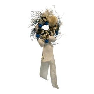 Vintage Florentine Mask & Cobalt Christmas Wreath