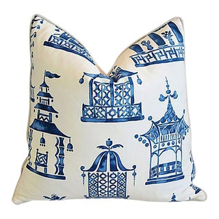 Custom Blue & White Chinoiserie Pagoda Feather/Down Pillow