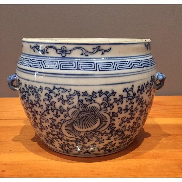 Blue & White Chinese Fish Bowl - Image 2 of 5