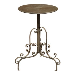 Early 20th Century French Painted Iron Martini Pedestal Round Table