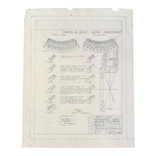 Signed 1932 Pinion & Gear Original Pencil Sketch