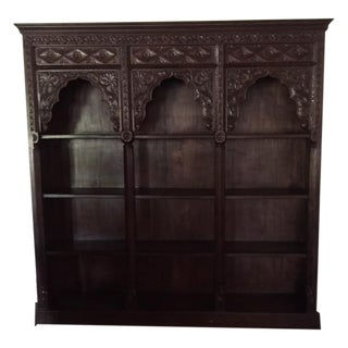 Large Hand Carved Wooden Bookcase