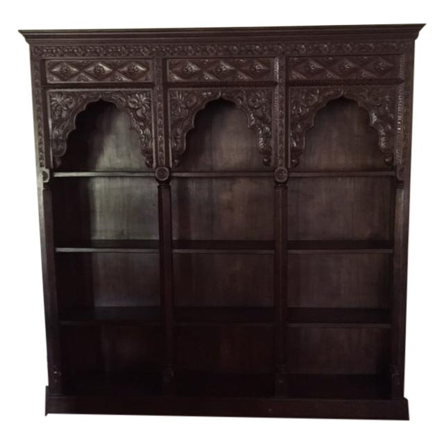 Hand Carved Bookshelf ~ Large hand carved wooden bookcase chairish