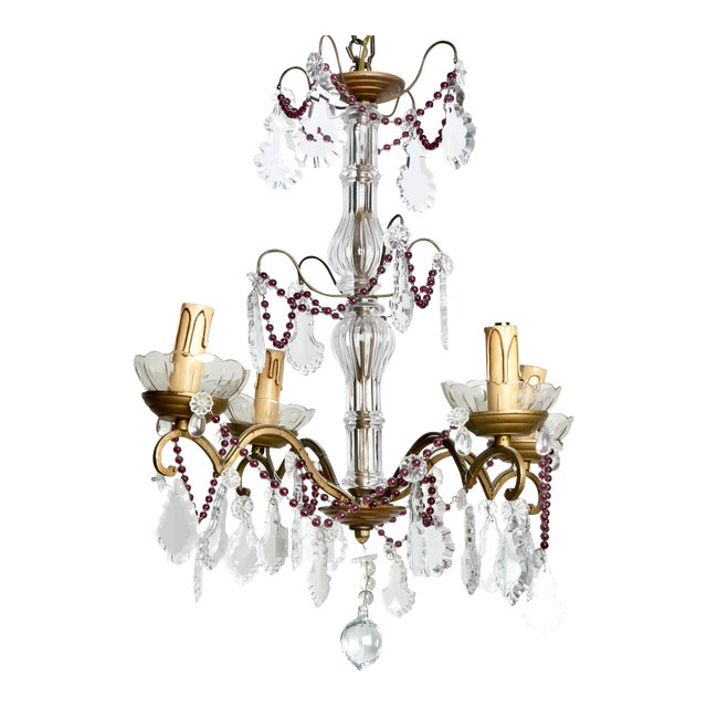 Image of Four-Arm French Chandelier With Amethyst Beads & Pendalogue Crystals