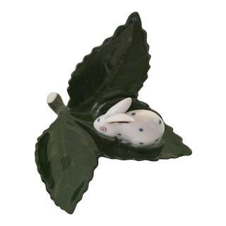 Herend Rabbit on Leaf Figurine