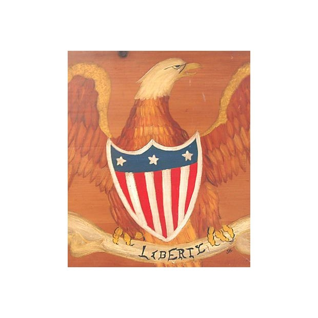 Image of Hand-Painted Wooden Liberty Eagle Plaque