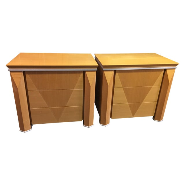 Georgio Collection Parquet Nightstands - A Pair - Image 1 of 7
