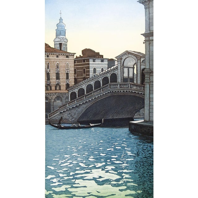 "F. St. Clar Miller Venice Italy ""Rialto Bridge"" Etching - Image 1 of 3"
