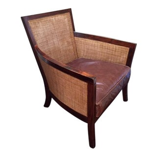 Crate & Barrel Blake Rattan Leather Chair