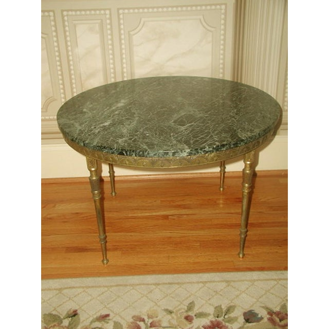 Bronze Neoclassical Marble & Mirror Coffee Table - Image 2 of 10