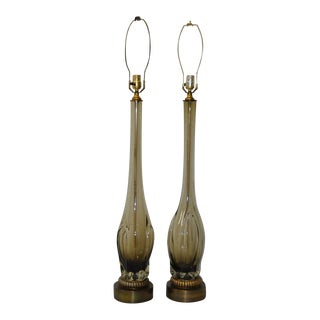 1960s Vintage Seguso Murano Table Lamps - a Pair