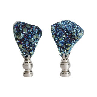 Electric Blue Titanium Quartz Finials - A Pair