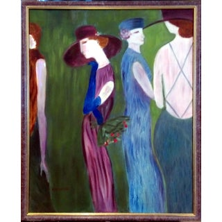 """Fashionable Four"" Art Deco Oil Painting"