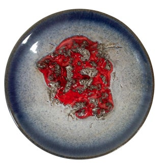 Blue Ombre Ashtray with Red Center