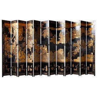 Chinese Lacquered 12 Panel Coromandel Screen